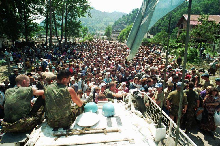 Nederlandse VN-troepen in Potocari in 1995. Beeld AP