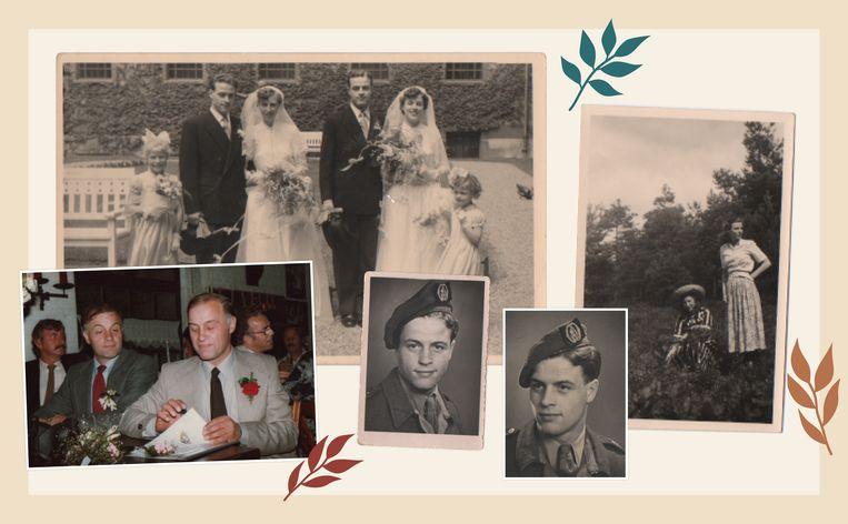 V.l.n.r. de trouwdag van Annie en Henny (1954), op vakantie in de bollenstreek (1949), portretten van de eeneiige tweeling. Beeld Privébeeld Annie en Henny