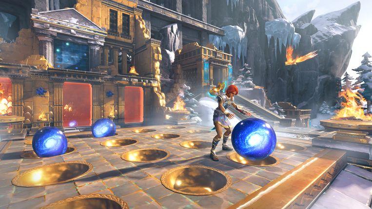 Immortals: Fenyx Rising bestaat voor een deel uit fysieke puzzels, zoals dit gevalletje balbeheersing. Beeld Ubisoft