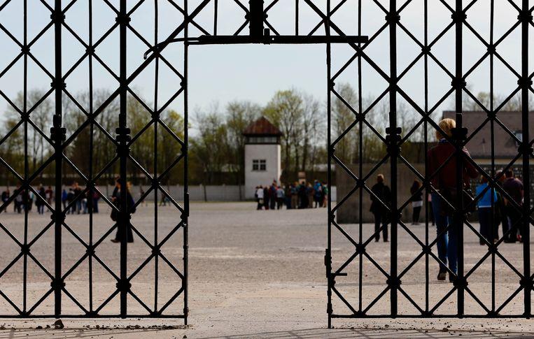 Toegang tot het concentratiekamp Dachau, nabij München.  Beeld AP