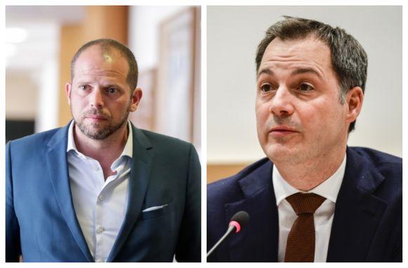 Oud-staatssecretaris Theo Francken (N-VA). Foto rechts: Ontslagnemend Open Vld-vicepremier Alexander De Croo.
