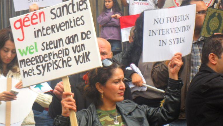 Hanan Shamoun tijdens een demonstratie in Den Haag Beeld
