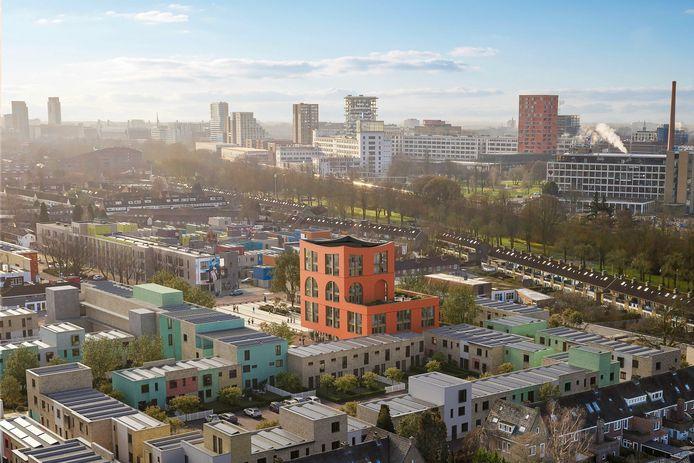 Een impressie van het zogenaamde waaggebouw op het Celsiusplein in Woensel West, Eindhoven. De bouw van dit nieuwe wijkgebouw is nu officieel begonnen.