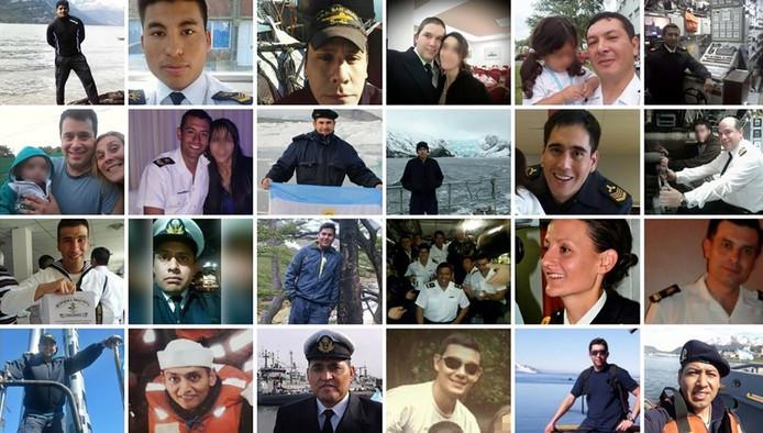 De bemanningsleden van de ARA San Juan duikboot die vermist wordt.