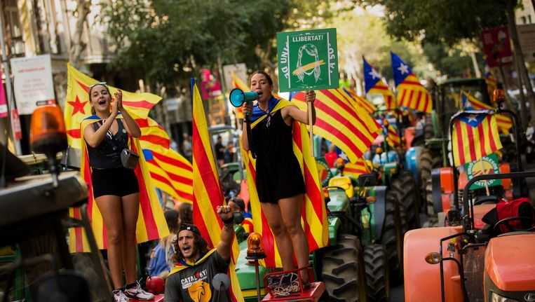 Boerenprotest vrijdag in de straten van Barcelona. Beeld AP