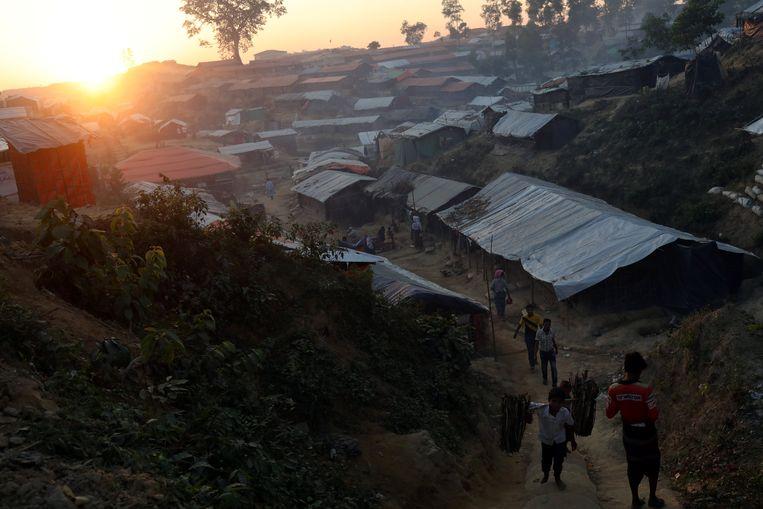 Een vluchtelingenkamp bij Cox's Bazar, in Bangladesh.