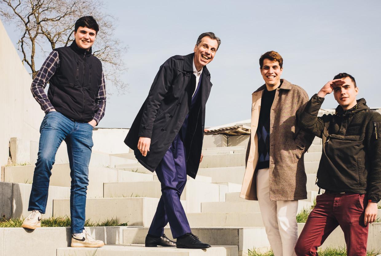 Roch, Christophe, Pol en Jean Deborsu. Beeld Carmen De Vos