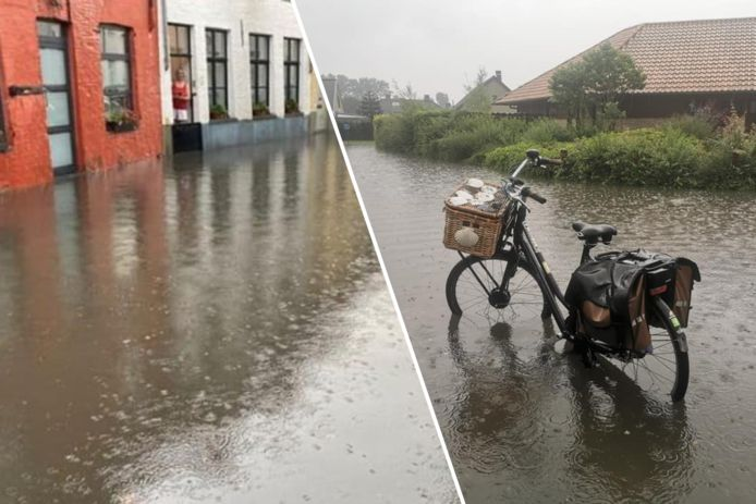 Onder meer in Brugge (links) en Nieuwpoort (rechts) zetten intense buien verschillende straten onder water.