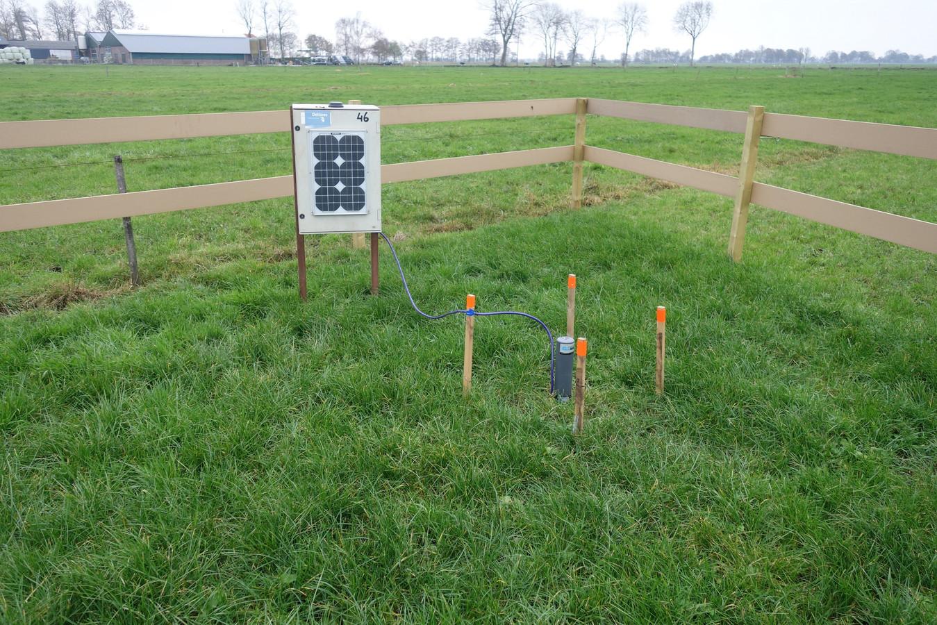 De bodemdalingsmeetsite werd in Rouveen in gebruik genomen.