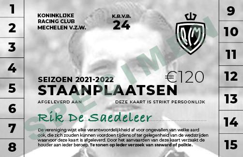 Een fictief abonnement van Racing Mechelen voor volgend seizoen, met foto van Rik De Saedeleer.