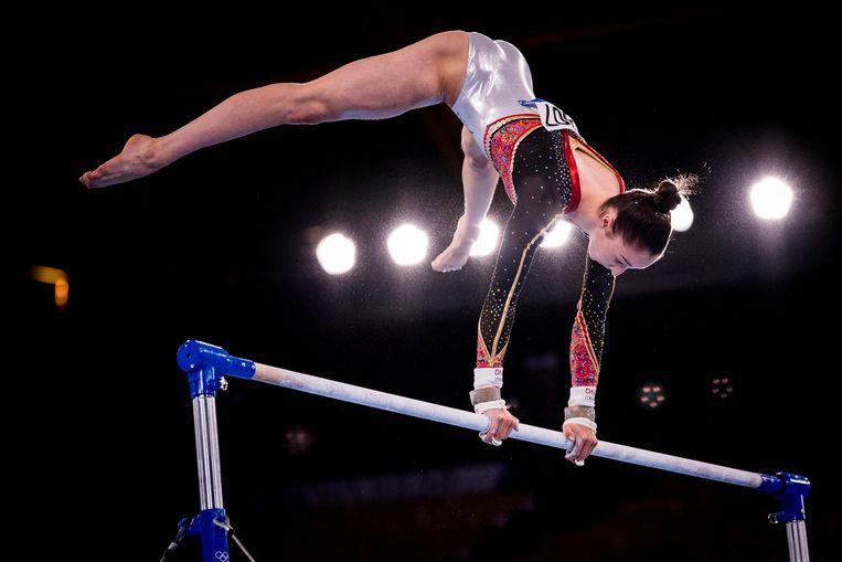 De Truiense Nina Derwael startte haar turncarrière bij de Hasseltse sportclub 'Sta Paraat', en wint nu goud op de Olympische Spelen. Beeld BELGA