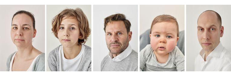 Van links naar rechts: mama Judith, met haar dochter Lois, verwekt door Michel en haar zoon Niels, verwekt door Gijsbert. Beeld Mascha Jansen
