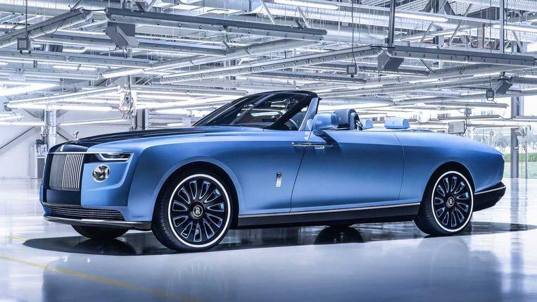 De Rolls-Royce 'Boat Tail'-Phantom: 23,3 miljoen euro, inclusief champagnekoelkast. Beeld rv
