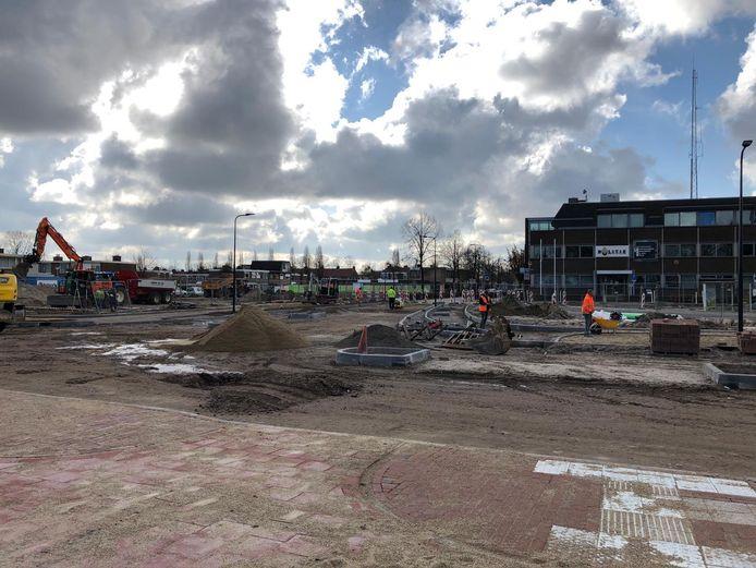 Bij de Spoorlaan het Anna van Berchemlaan is een reconstructie gaande.