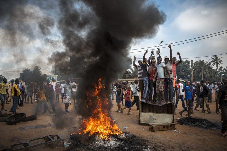 Tweede prijs Algemeen Nieuws<br /><br />Demonstranten in de Centraal Afrikaanse Republiek Beeld William Daniels