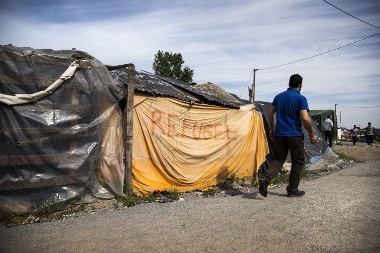 Het vluchtelingenkamp, genaamd 'de Jungle,' nabij Calais, Frankrijk. Beeld epa
