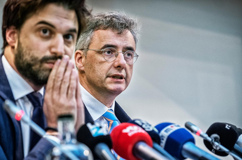 Onderhandelaars Georges-Louis Bouchez (MR) en Joachim Coens (CD&V). Het wordt tijd dat er vooruitgang wordt geboekt.  Beeld Tim Dirven