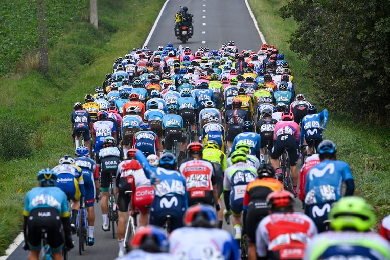 Het peloton tijdens de Ronde Van Vlaanderen. Veel renners hebben nog geen contract voor volgend jaar. Beeld Photo News