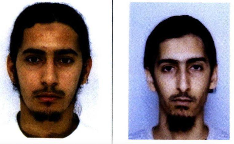 De broers Mehdi (links) en Mohamed Belhoucine, die bij verstek terechtstaan op het proces over de aanslagen tegen Charlie Hebdo Beeld RV