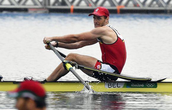 Roeier Hannes Obreno tijdens de halve finale gisteren.