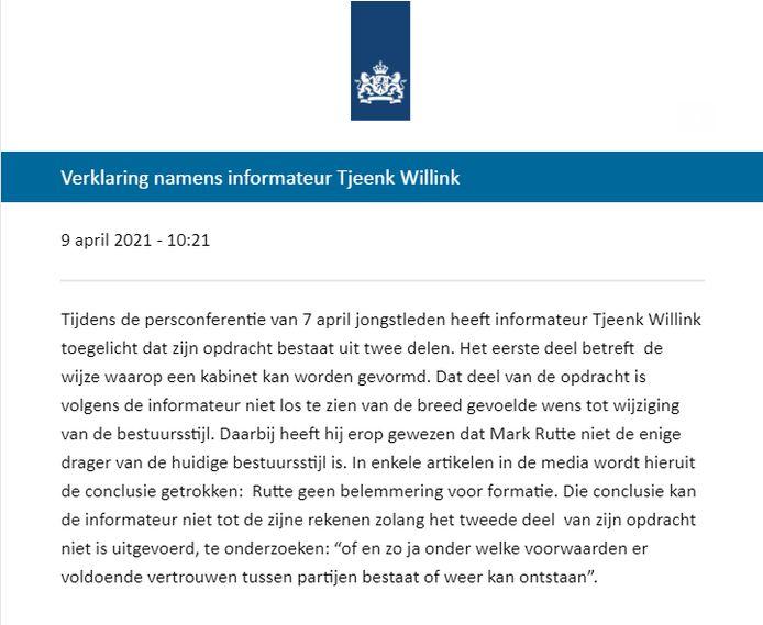 De Verklaring die Tjeenk Willink vanochtend liet uitgaan