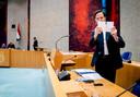 Demissionair premier Mark Rutte in de Tweede Kamer tijdens een debat over het coronavirus.