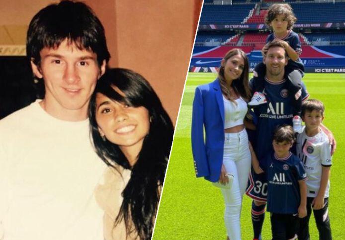 Lionel Messi en Antonela, vroeger en nu.
