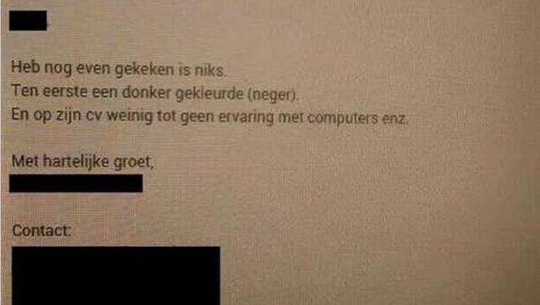 Screenshot van de bewuste mail. Beeld screenshot