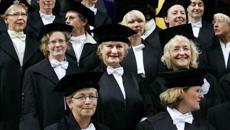 Een protest, in 2006, van RUG-hoogleraren. Ze vonden dat er te weinig vrouwen werden aangesteld als hoogleraar. ©ANP Beeld