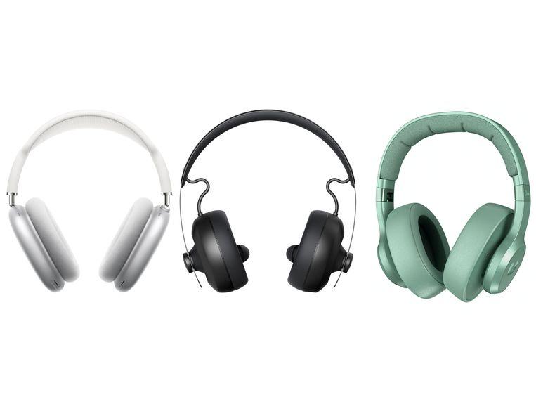 Van links naar rechts: AirPods Max: 629 euro. Nura Nuraphone: vanaf 294 euro. Fresh 'n Rebel Misty Mint (model Clam):  vanaf 60 euro. Beeld