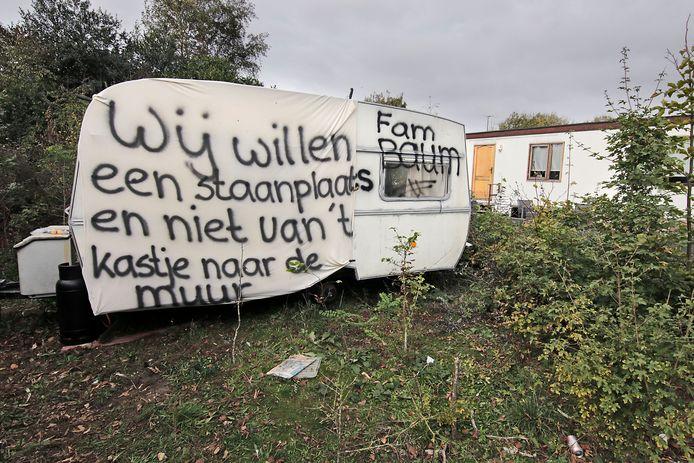 Protest van boze woonwagenbewoners in Oss