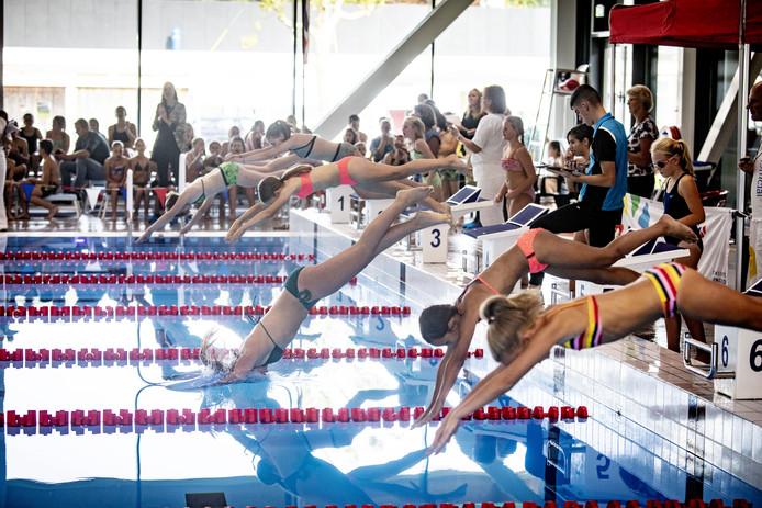 In teams van vier strijdt de jeugd tijdens het zwemtoernooi om een gigantische beker.