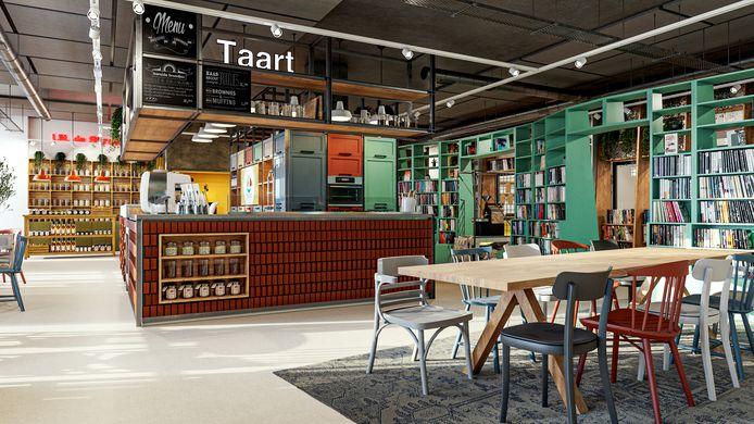 Artist's impression van de nieuwe bibliotheek in Heteren.
