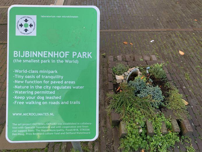 Het bord bij het park.