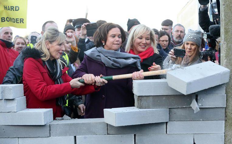 Leidster van de Ierse links-nationalistische partij Sinn Fein, Mary Lou McDonald, tijdens een protestactie tegen de brexit op 26 januari 2019. Beeld AFP