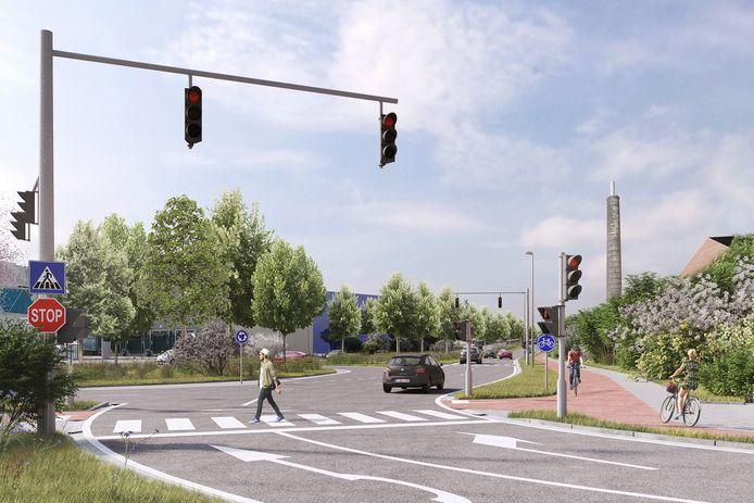 In de Afrikalaan sluit de brug aan op een nieuw verkeersplein. Zo kan u makkelijk richting de Dampoort of de Vliegtuiglaan en de R4.