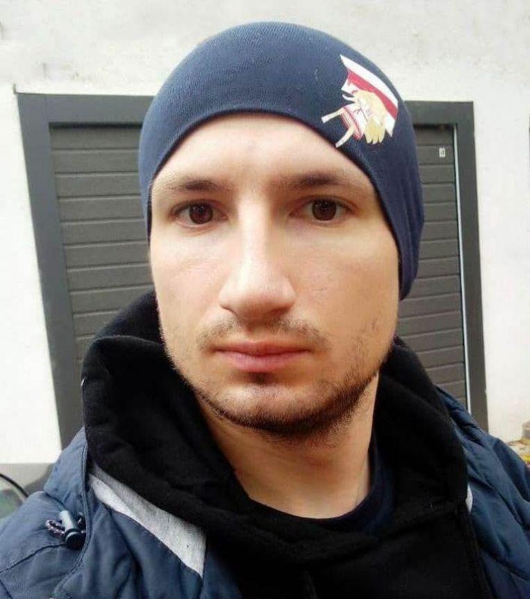 Aliaksei Santsjuk, veroordeeld tot zes jaar cel omdat hij betogers leerde