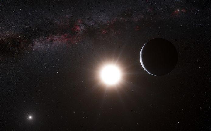 Een impressie van de planeet (rechts) die om de ster Alpha Centauri B (midden) cirkelt. 'Onze' zon is de stip rechtsboven, Alpha Centauri A is linksonder.