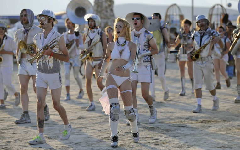Deelnemers van Burning Man 2014. Beeld AP