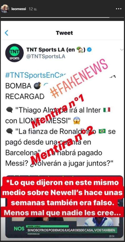 Het bericht van Messi op Instagram.