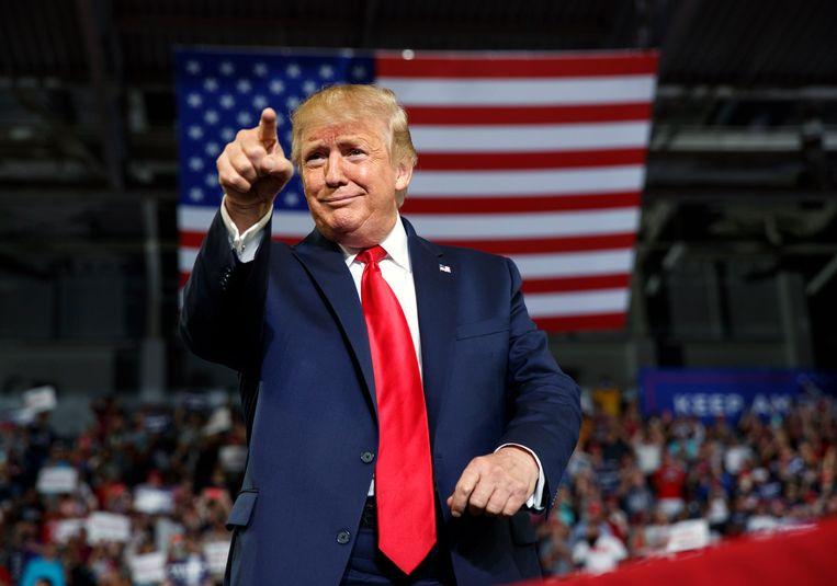 Donald Trump tijdens een campagnerally in Greenville, juli 2019. Beeld AP