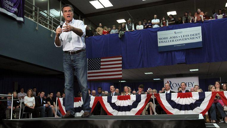 Mitt Romney was gisteren, een dag na zijn overwinning in Michigan en Arizona, op campagne in de staat Ohio, waar volgende week dinsdag voorverkiezingen zijn. Beeld afp