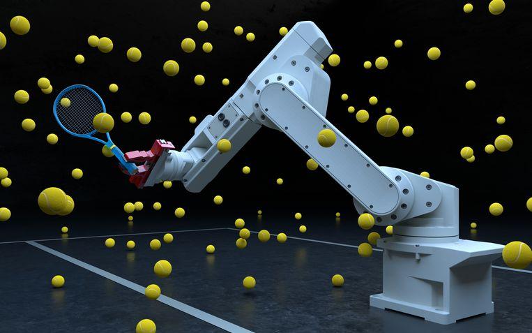 Een met kunstmatige intelligentie aangestuurde robotarm 'leert' tennisballen te slaan.  Beeld Getty Images
