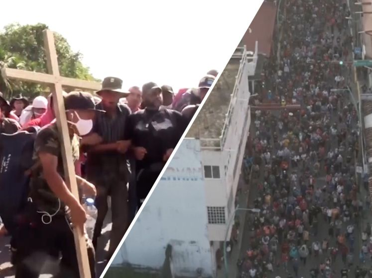 Een groep van 2000 Midden-Amerikaanse migranten vertrok naar de VS