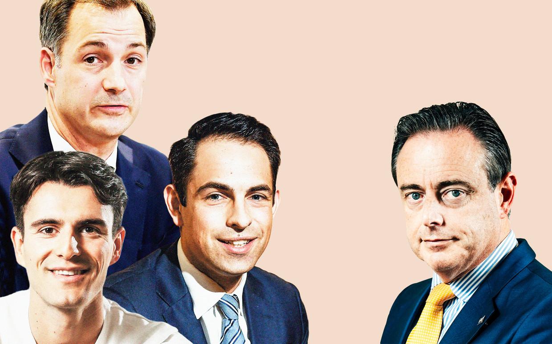 Conner Rousseau, Alexander De Croo en Tom Van Grieken hijgen in de nek van Bart De Wever. Beeld DM