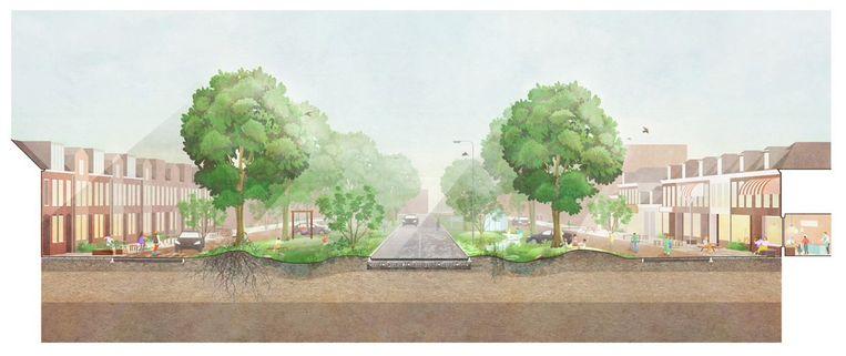 In de Gemeente Groningen moeten straten 'leefstraten' worden, met veel minder ruimte voor auto's.  Beeld