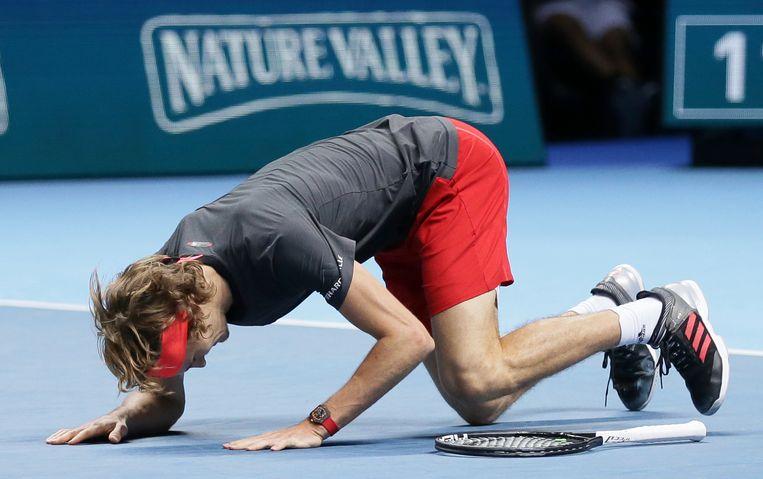 Alexander Zverev wint van Novak Djokovic. Beeld AP