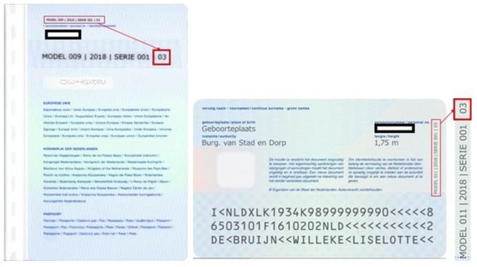 Paspoorten die mogelijk technische fouten bevatten zien er zo uit.