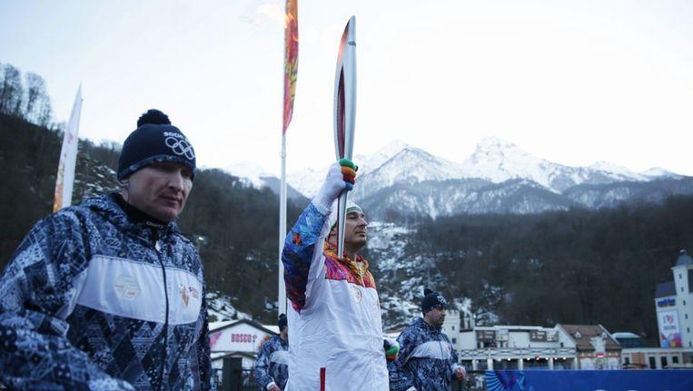 De olympische vlam komt aan in Sotsji. Beeld epa