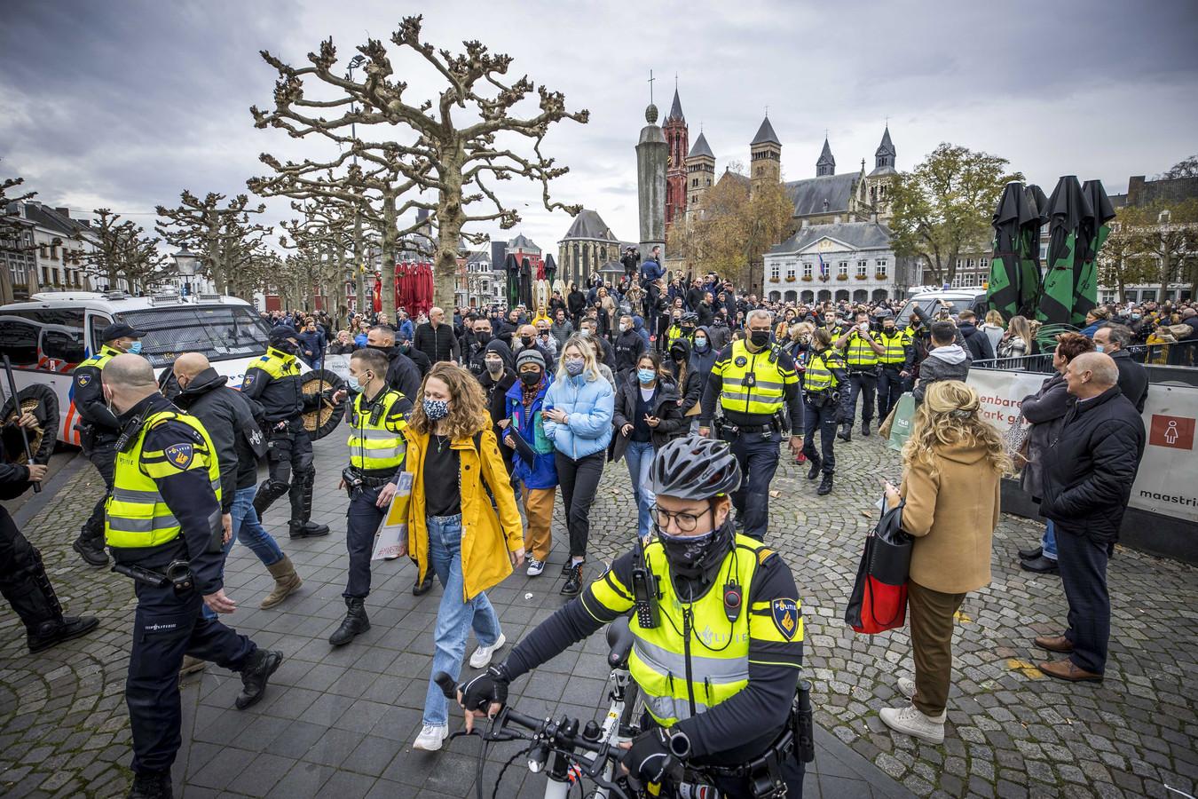 De demonstratie op het Vrijthof in Maastricht, afgelopen zondag.